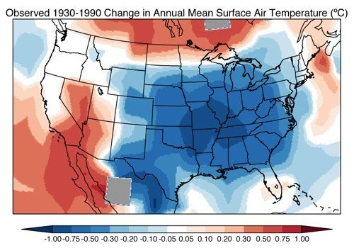 Observed change in surface air temperature between 1930 and 1990. Observations are from the NASA GISS Surface Temperature Analysis. Image courtesy of Eric Leibensperger
