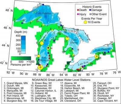 Are there tsunamis in the Great Lakes?