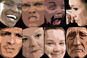 The 16 facial expressions most common to emotional situations worldwide